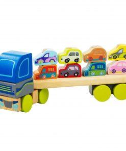 camion lemn cu masinute colorate jucarie copii cadou baietei