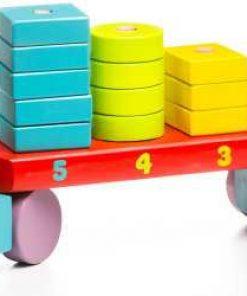 camion forme geometrice set constructie stivuire lemn colorat