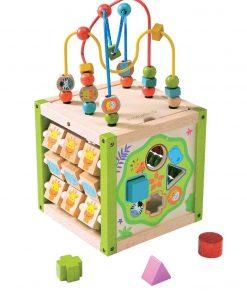 jucarie din lemn cub de actitivati copil